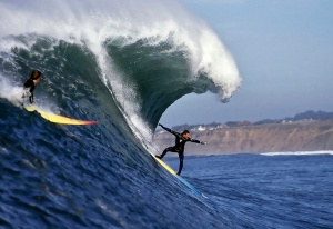 Jay Moriarity.  Big wave surfing at Mavericks.  Photo: Vern Fisher