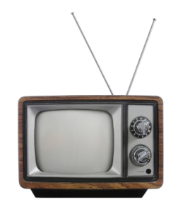 Grunge vintage television with antena isolated on white