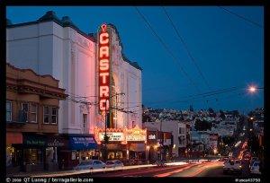Castro Theater and Castro Street at dusk. San Francisco, California, USA