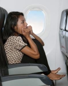 terrified passenger on a plane