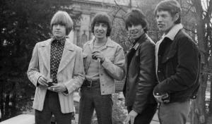 Members of the British rock band the Rolling Stones pose in Paris, 28 March 1966. Right to Left: Brian Jones, Bill Wyman, Keith Richards and Mick Jagger. (Photo credit should read STAFF/AFP/Getty Images)