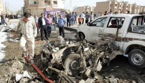 Site of a bomb attack in Kirkuk, 290 km north of Baghdad, on April 15 (file photo)