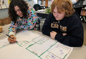112108skoolworkgw photo by Gary Walts 11-21-08 Sebastian Goins, left, & Joshua MacVean, both 17 year old seniors at sandy Creek high school, draw a hospital floor plan in a project about workplace safety in the School To Work class at the school.
