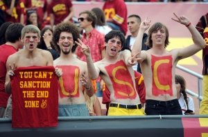 16 October 2010: Four body painted USC student fans during an NCAA football game between the California Golden Bears and the USC Trojans at the Los Angeles Memorial Coliseum in Los Angeles, CA.