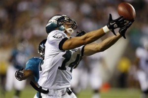 Philadelphia Eagles wide receiver Riley Cooper, right, pulls in a pass as Jacksonville Jaguars cornerback Derek Cox defends in the first half of an NFL preseason football game, Friday, Aug. 13, 2010, in Philadelphia. (AP Photo/Michael Perez)