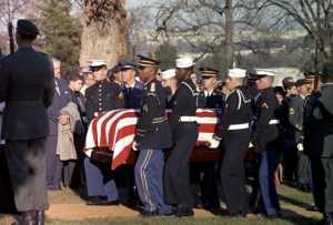 Pallbearers carry the casket of U.S. President John F. Kennedy for his burial at Arlington National Cemetery in Virgina Nov. 25, 1963. That day a funeral Mass was celebrated for the slain president at the Cathedral of St. Matthew the Apostle in Washington. (CNS photo/Cecil Stoughton, courtesy John F. Kennedy Presidential Library and Museum) (Oct. 28, 2013) See KENNEDY-FUNERAL Oct. 28, 2013.
