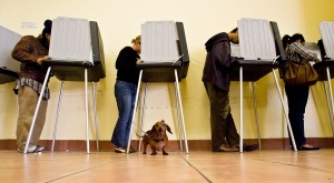 SAN FRANCISCO - NOVEMBER 4: People vote inside the